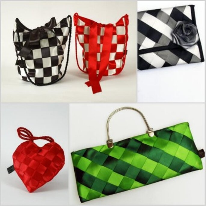Elegantes bolsos artesanales en cintas, con infinidad de colores para elegir. Fotos: Rebeca Duncan