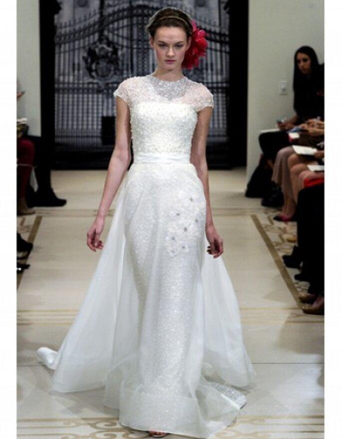 Vestido de novia con aplicaciones de cristal, escote redondo con abalorios