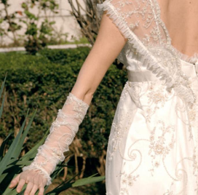 Guanti da sposa lunghi senza dita in pizzo