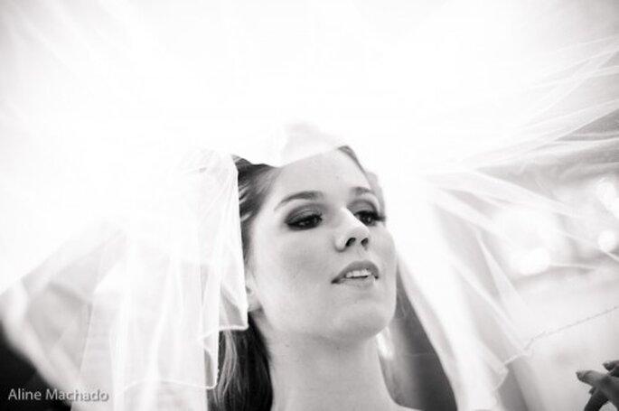 La novia puede lucir cualquier tocado.Foto :Aline Machado
