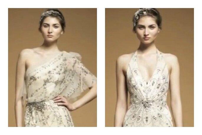 Due proposte di abiti con inserti e decorazioni gioiello di Jenny Packham. Foto: youtube.com
