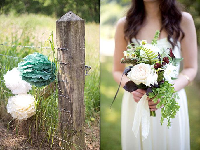 Decoraciones de papel para tu boda - Foto Caught the Light