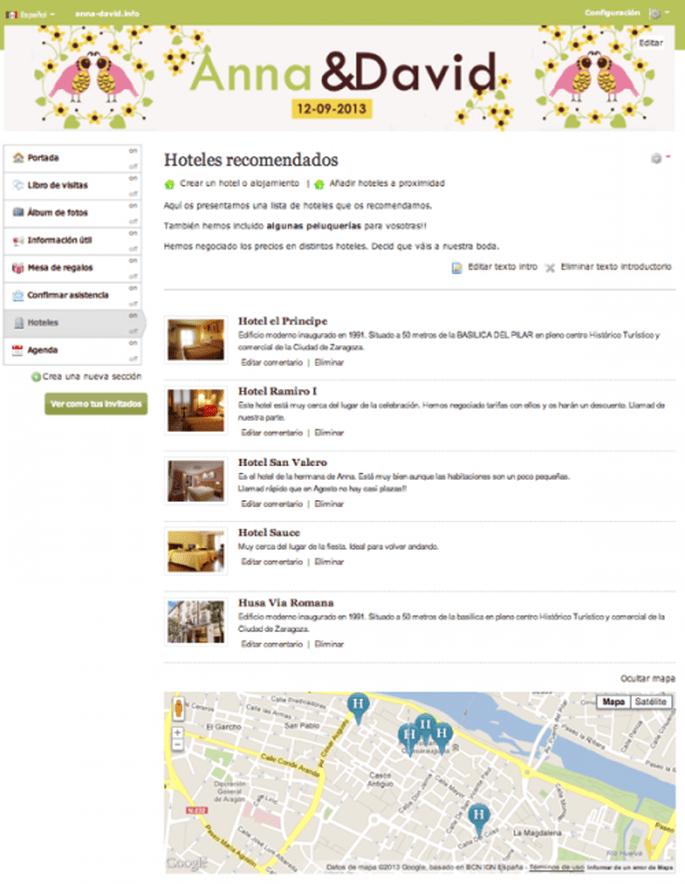 Recomienda hoteles y lugares de alojamiento para tus invitados - Foto Zankyou
