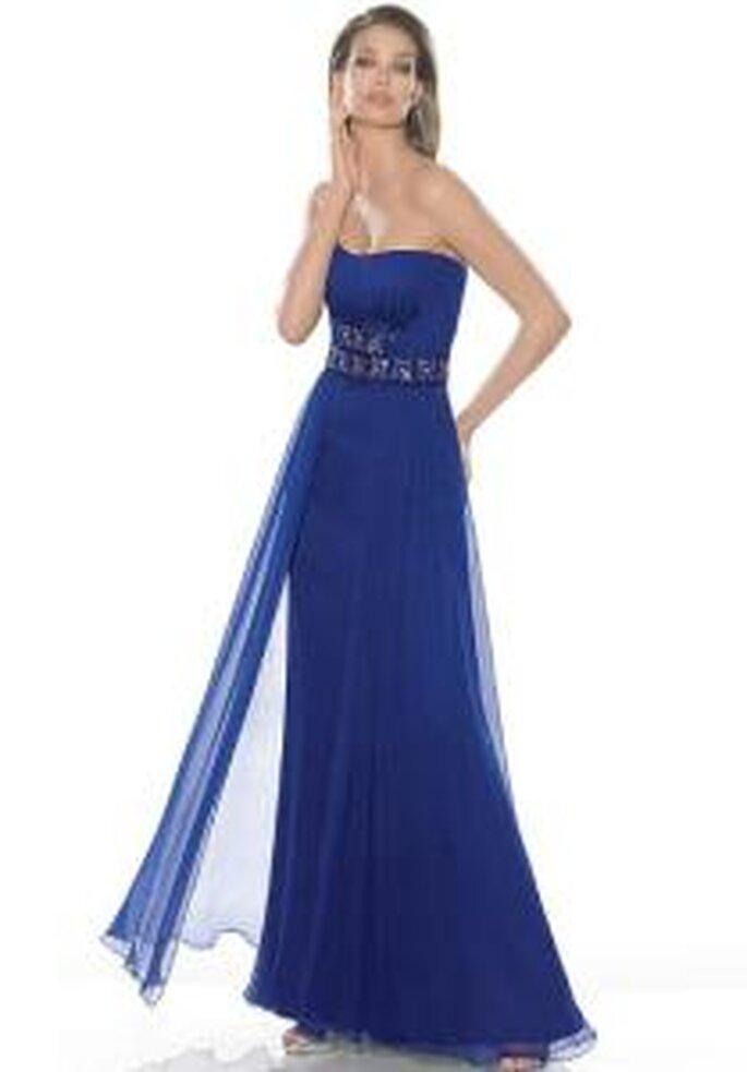La Sposa 2009 - Vestido azul alrgo, con escote palabra de honor, corte imperio