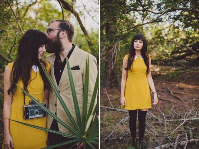 Sesión de fotos pre boda en el bosque con un aire hipster - Foto Alyssa Shrock