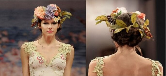 Detalle de la corona de novia. Fotos: www.clairepettibone.com
