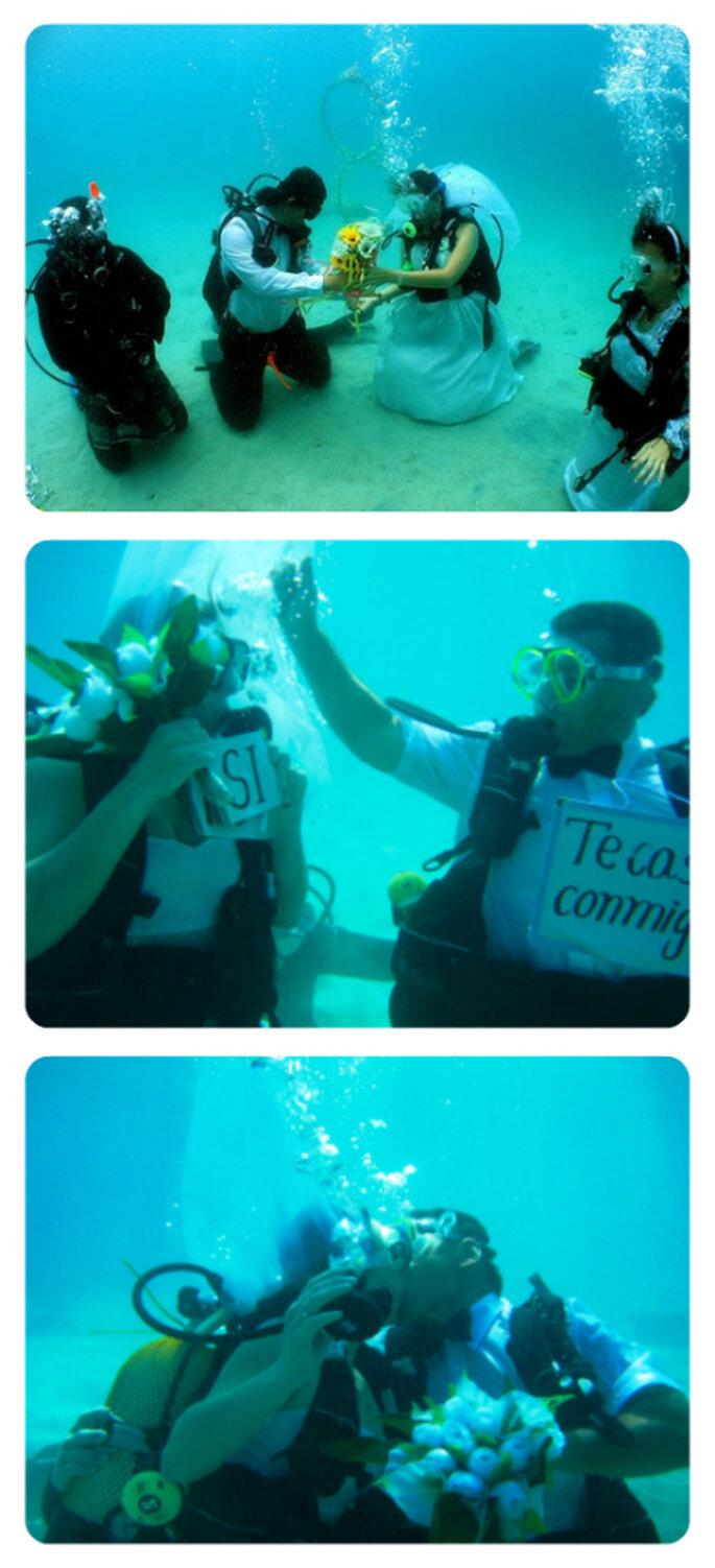 Casarse bajo el agua, boda submarina.