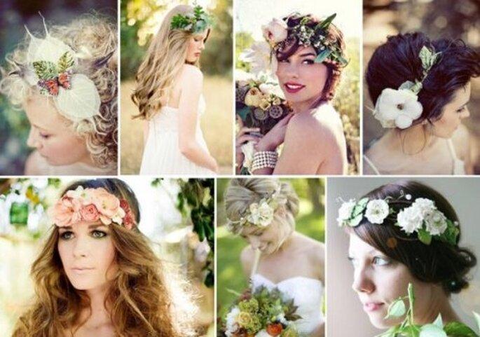 Corone di fiori per la sposa. Foto via Vintage Wedding Day.