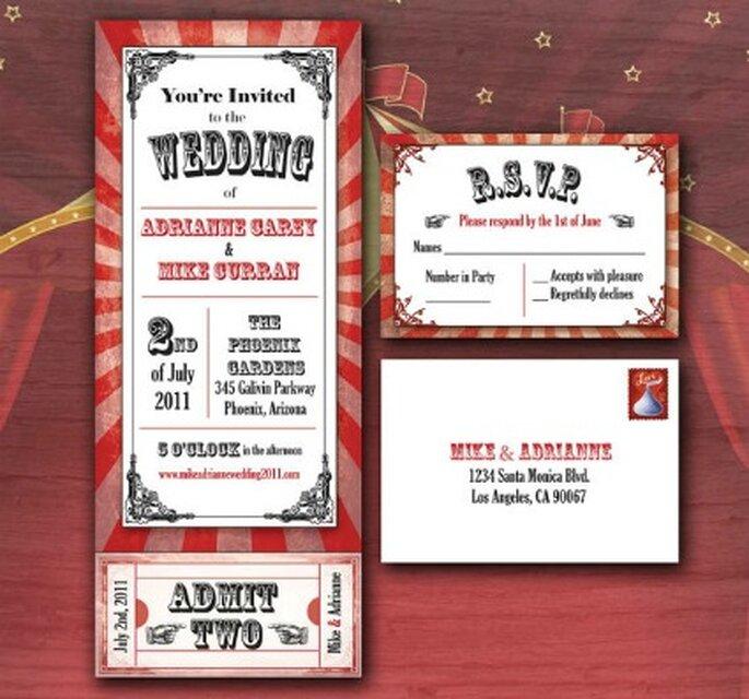 Invitation de mariage aux couleurs du cirque - Etsy.com Circus Movie Ticket Wedding Invitation By Adrianneasu