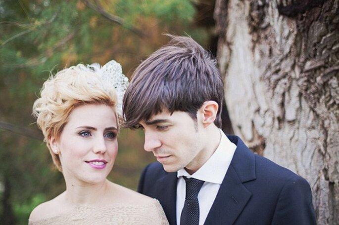 Primer plano de los novios, David y Sonia. Foto: Díez & Bordons.