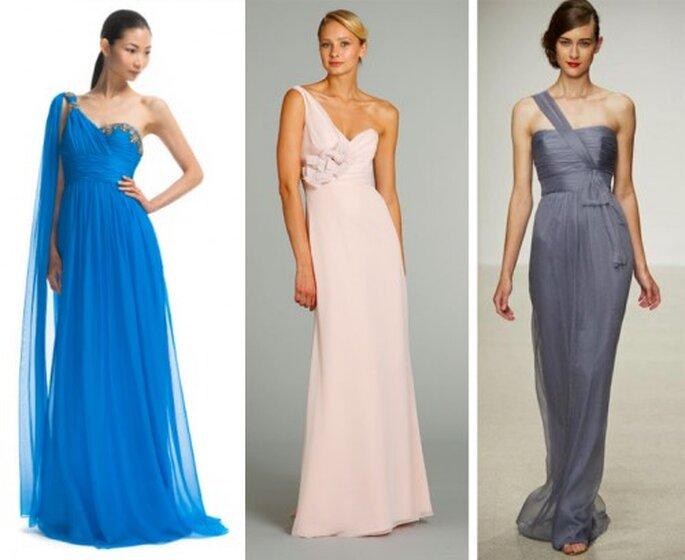 Vestidos de gala con un tirante de lado de moda en 2013 - Foto Moda Operandi, JLM Couture y Amsale Facebook