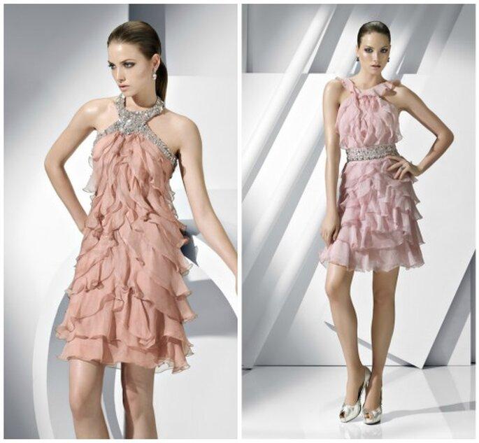 Vestidos para ir a una boda en rosa nude. Foto: Pronovias