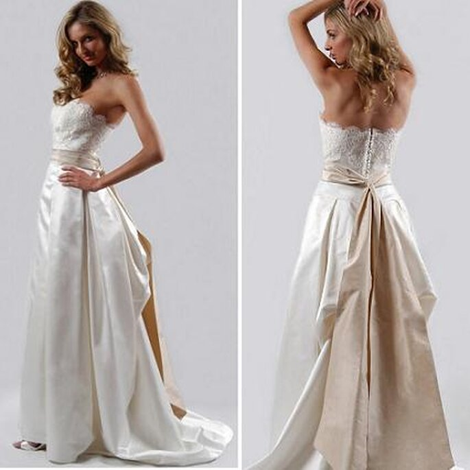 Beige sash on white wedding gown