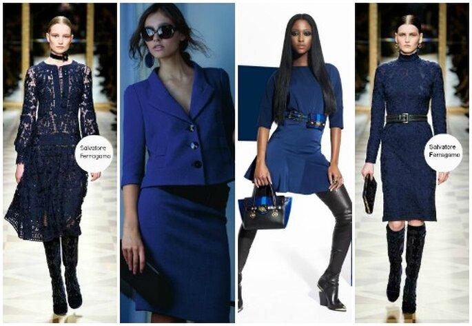 Bleu nuit, bleu roi... cette couleur est au coeur des tendances de l'hiver 2012-13. De gauche à droite Salvatore Ferragamo, Giorgio Armani, Versace, Salvatore Ferragamo.