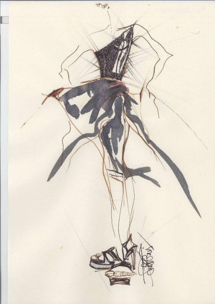 Boceto de la nueva colección de vestidos de novia La Boheme 2012
