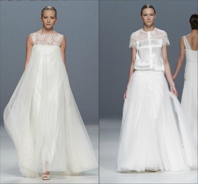 Vestidos de novia Jesús del Pozo 2012 con ricas telas que dan volumen a la novia - Ugo Camera / Barcelona Bridal Week