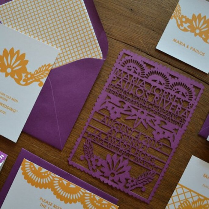 Invitation mariage papel picado - aviedesigns.com