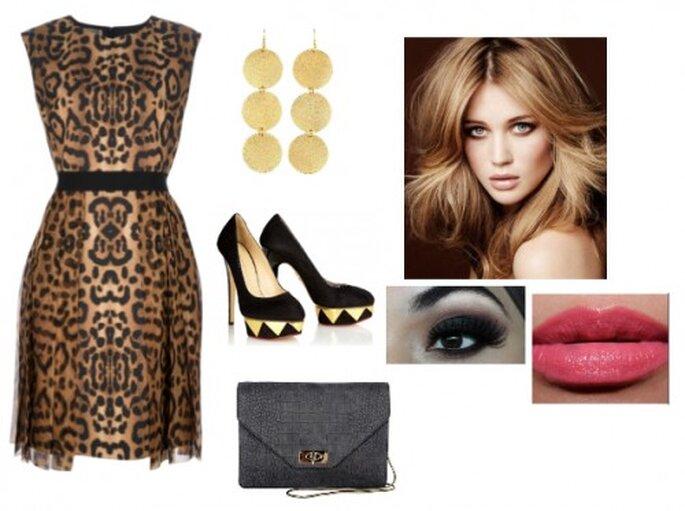 Look inspirado en el estampado de leopardo para ir a una boda - Vestido Giambattista Valli, aretes Charlotte Russe, bolsa Givenchy, zapatos Charlotte Olympia