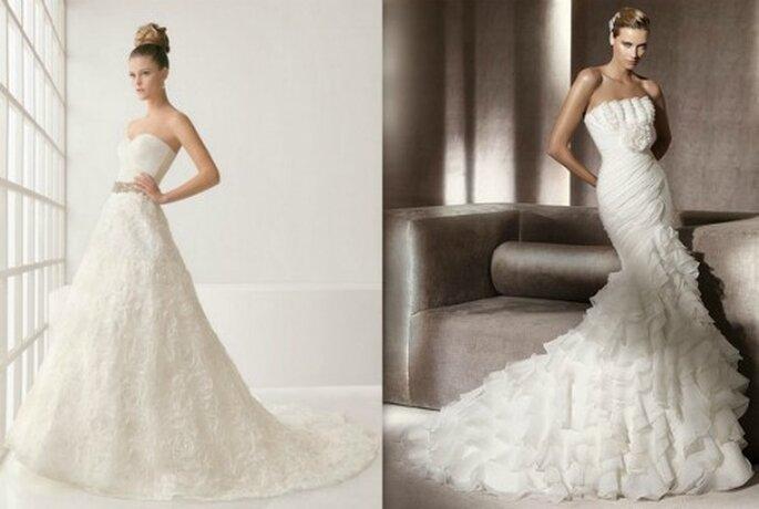 A sinistra Two by Rosa Clarà Collezione 2012 Mod. Leslie. A destra Pronovias Collezione Glamour 2012 Mod. Alfil.