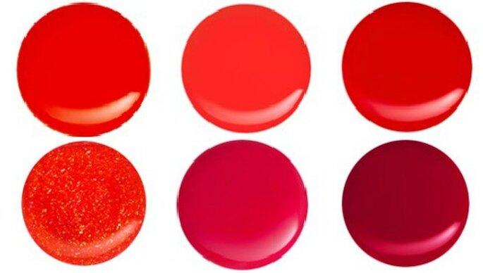 Sei differenti toni di rosso,da quello acceso al glitterato, firmati Kiko Nail Lacquer. Foto: www.kikocosmetics.com