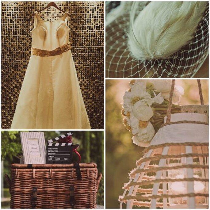 La sposa ha scelto un abito semplice, con dettagli giallia  richiamare le decorazioni del suo matrimonio in stile americano. Foto: Adrián Tomadín