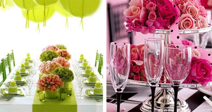 Verde y rosa, dos tonos que dan mucha luz a una boda