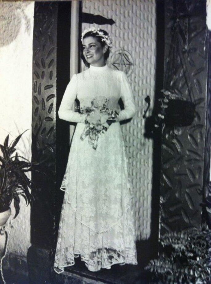 Regina da Matta avec sa robe de mariée en juillet 1979. Photographie: Antônio Machado