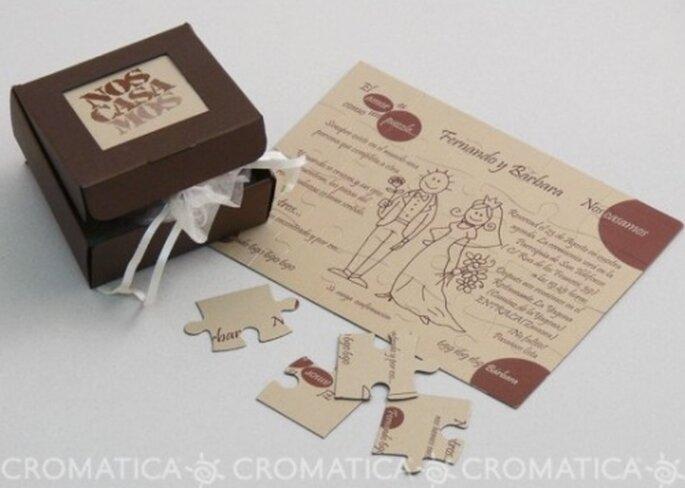 Invitación de boda en rompecabezas, diseño de Organiza Regalos