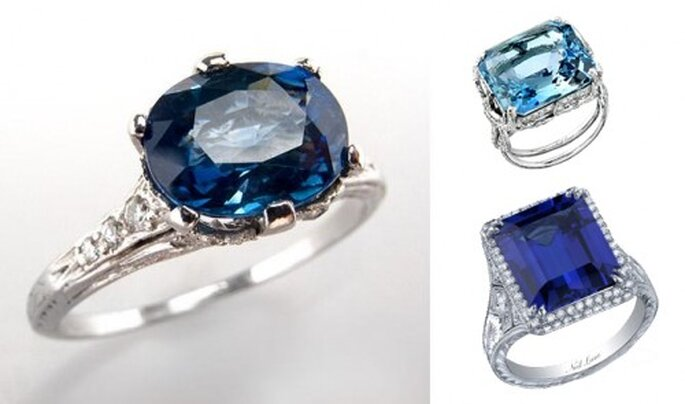 Anillos de compromiso en color azul de moda en 2013 - Foto Eragem, Neil Lane