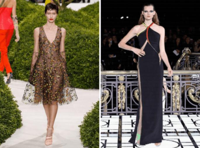 Vestidos de fiesta en tendencia con detalles de transparencia - Foto Armani Privé y Versace