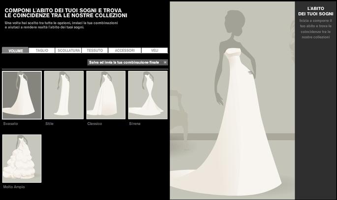 Accedi al sito web di Pronovias e inizia subito a disegnare il tuo modello ideale