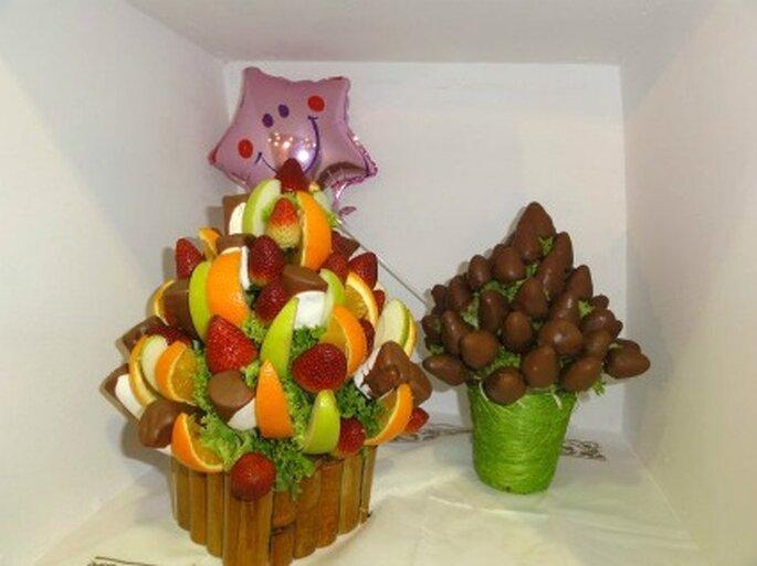 Deliciosos trozos de fruta con Chocolate    Foto de Enfrutados