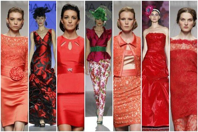 Vestidos de fiesta rojos para invitadas 2013. Foto: Barcelona Bridal Week, Cibeles Novias