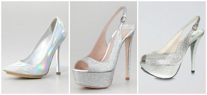 L'argento è perfetto per un matrimonio invernale. Da sinistra: Stella McCartney, Miu Miu, Stuart Weitzman. Foto: www.neimanmarcus.com