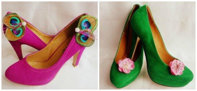 Des clips de couleur à mettre sur ses chaussures de mariée 2014. Photo: La Chia Accessoires