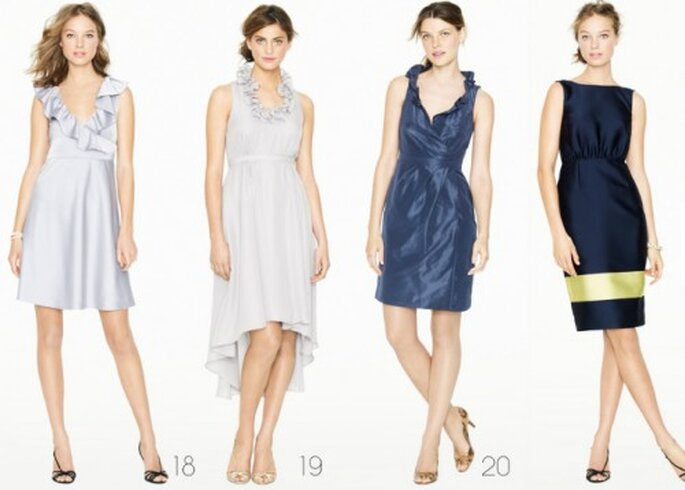 Vestidos para dama de honor en tonos azul oscuro y claros - Foto: J.Crew Bridesmaid Collection