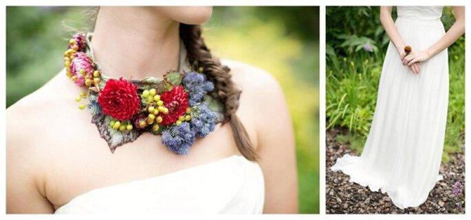 Look de novia con detalles inspirados en frutos rojos - Foto Paperlily Photography