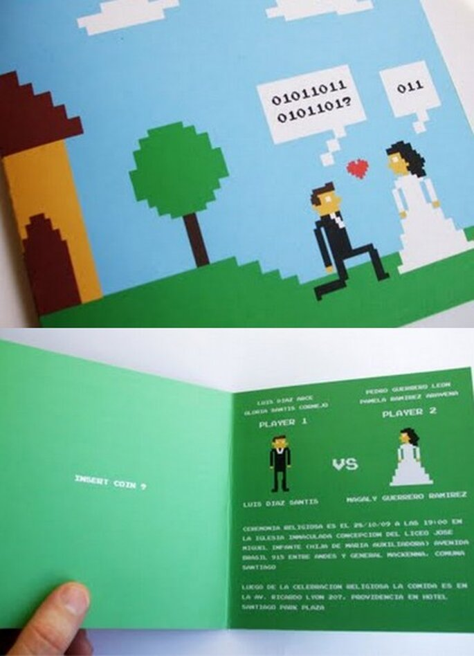 Invitación geek para una boda.