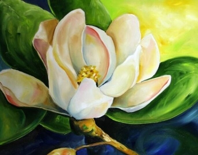 """"""" First Bloom"""", fior di Magnolia dipinto da Laurie Justice Pace per la Galleria Daily Painters. Foto: Daily Painters"""