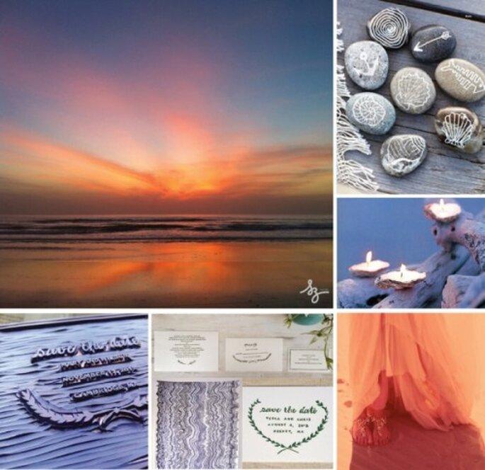 """Decoración de boda """"Anochecer de playa"""". Elaboración Laura Navarro con fotos de Fitmydress.com y Oncewed.com"""