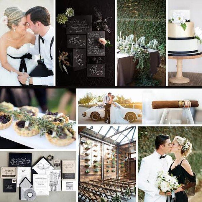 Inspiración súper glam para tu boda en colores negro y dorado - Fotos de Etsy, Oh so Beautiful Paper