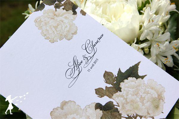 Collection White : À l'image des jardins à l'anglaise, la collection white représente des faire-part qui mettent en avant la beauté de la nature, des roses blanches dans une subtilité artistique.