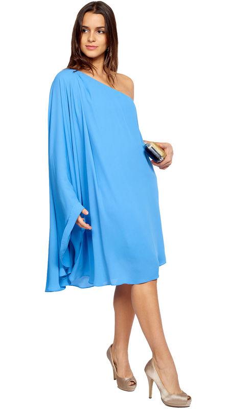 Perfecto vestido corto de gasa azúl celeste para invitada disponible en alquiler en varias tallas y colores: http://www.dresseos.com/alquiler-vestidos-para-fiesta-boda-o-evento-formal/vestidos-cortos/vestido-corto-tunica-azul-celeste-para-invitada