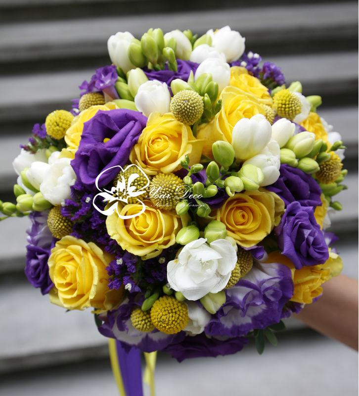 Żółto fioletowy bukiet ślubny