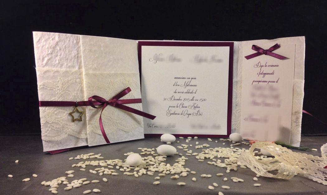 Partecipazione nozze con pizzo e raso www.stampaecrea.it