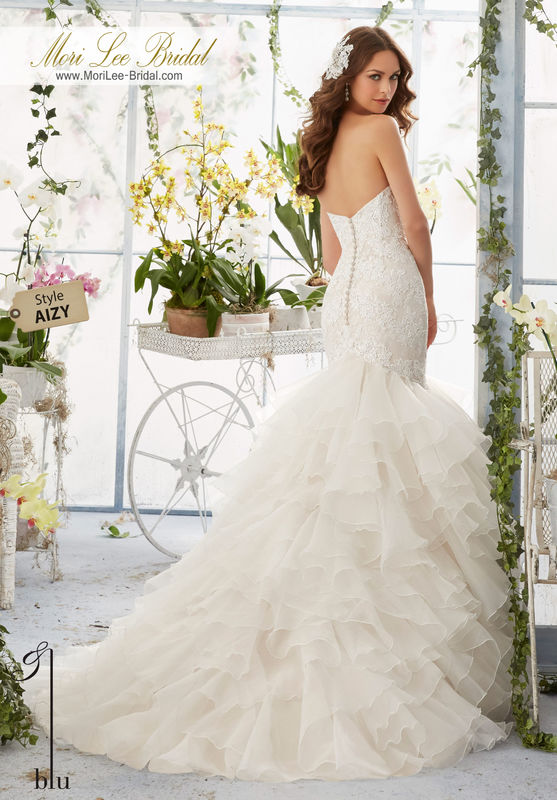 """Dress Style AIZY Venice Lace Appliques Over Chantilly Lace Onto The Flounced Organza, Mermaid Gown  Available in Three Lengths: 55"""", 58"""", 61"""". Colors available: White, Ivory, Ivory/Cameo."""