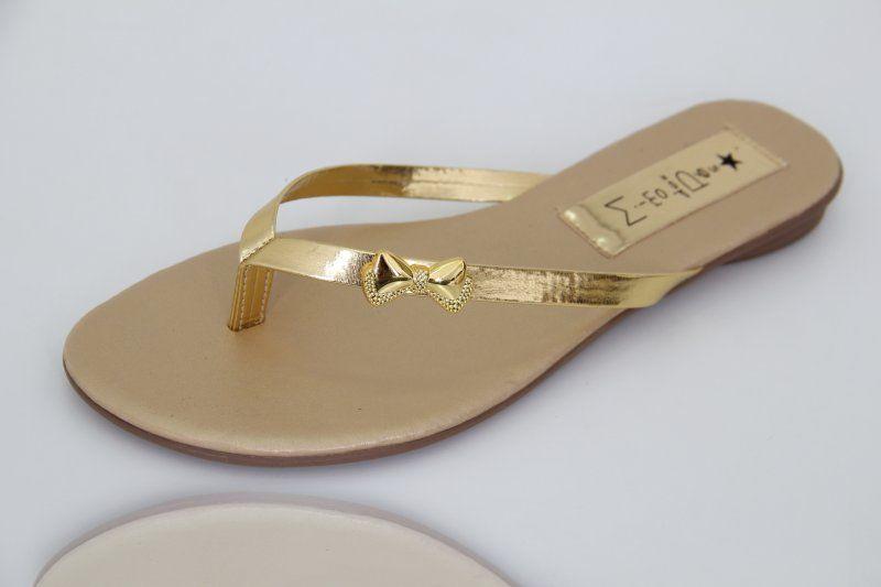 Slim Clean Tira Dourada com Lacinho Fechado