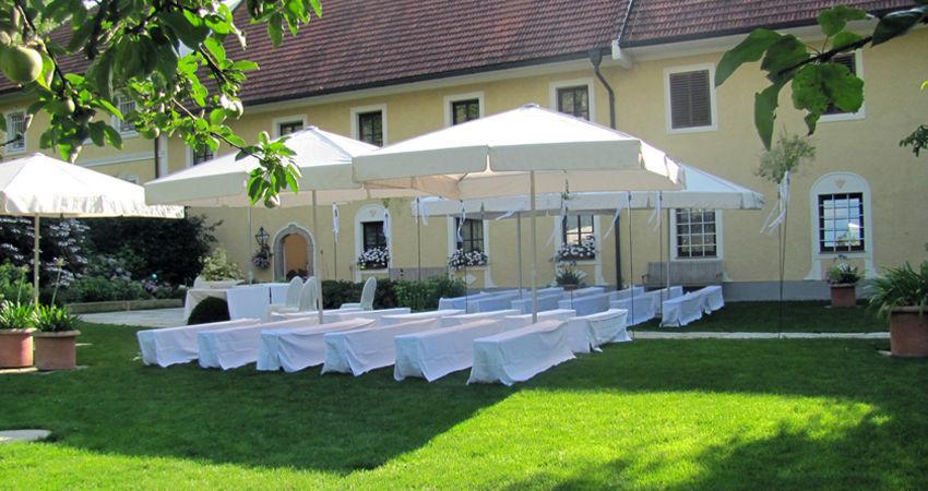 Beispiel: Hochzeit im Garten, Foto: Eventbauernhof Ganglbauergut.