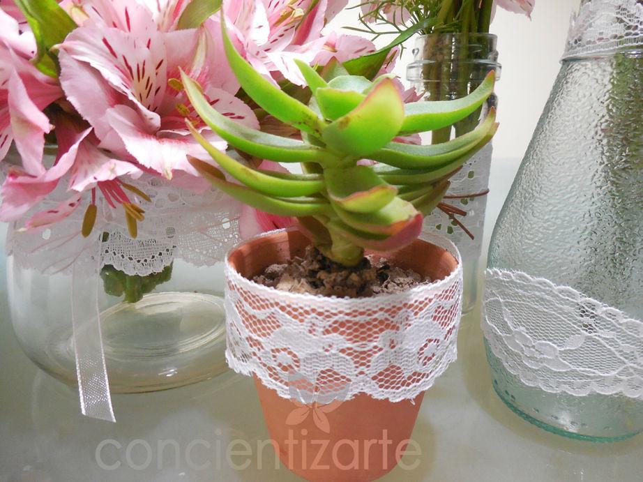 Planta Suculenta en maceta de arcilla decorada con blonda. Recuerdo de boda, shower.