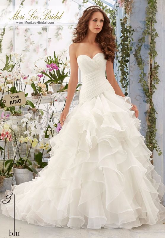 """Dress Style AINO Asymmetrically Draped And Flounced Organza Gown  Available in Three Lengths: 55"""", 58"""", 61"""". Colors available: White, Ivory, Ivory/Blush."""